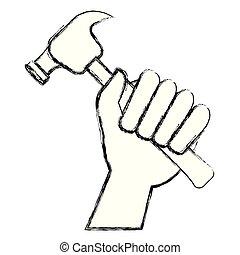 outillage, marteau, main
