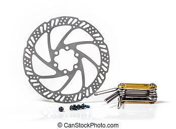 outillage, réparation, frein, disque, gros plan, roue, vélo