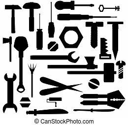 outils, bricolage, main