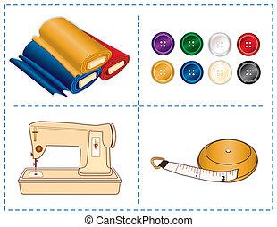 outils, couleurs, couture, bijou
