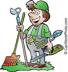 outils, debout, jardinier