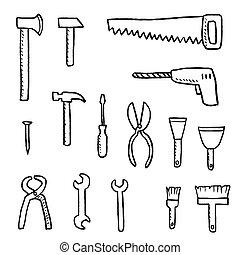 outils, ensemble, vecteur
