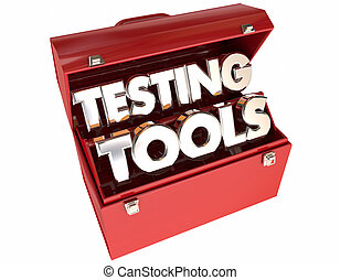 outils, essai, analyse, mots, boîte outils, évaluation, 3d