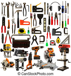 outils, fond, isolé, blanc