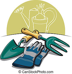 outils, gants, jardinage