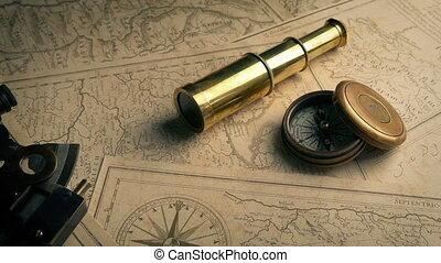 outils navigation, vieux, cartes, en mouvement, coup