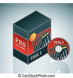 outils, paquet, logiciel