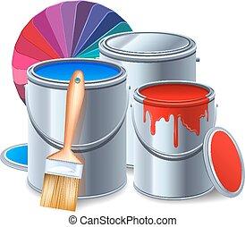 outils, peinture, composition