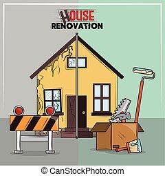 outils, rénovation, maison