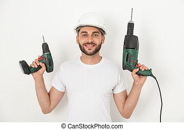 outils, réparateur, puissance, sourire