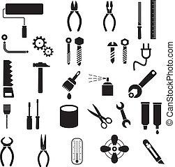 outils, vecteur, -, icônes