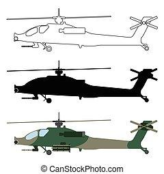 outline., ensemble, dessin animé, silhouette, illustration, équipement, vecteur, hélicoptère, militaire, icon.
