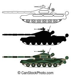 outline., ensemble, réservoir, dessin animé, silhouette, illustration, équipement, vecteur, militaire, icon.