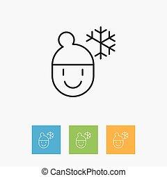 outline., plat, climat, prime, hiver, garçon, symbole, temps, isolé, illustration, élément, vecteur, glacial, branché, qualité, style.