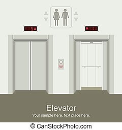 ouvert, ascenseur, fermé, portes