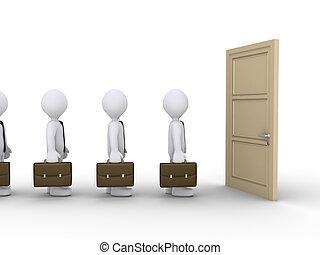 ouvert, attente, porte, hommes affaires