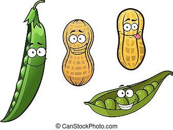 ouvert, coquilles, pois, vert, cacahuètes, boîtiers, dessin animé