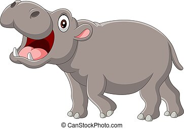 ouvert, dessin animé, hippopotame, bouche
