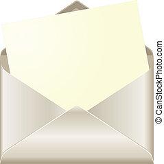 ouvert, enveloppe, carte