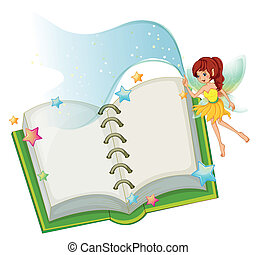 ouvert, fée, livre, étoiles