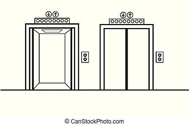 ouvert, fermé, portes ascenseur