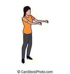 ouvert, icône, bras, femme, avatar