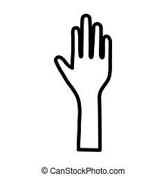 ouvert, icône, main, arrêter geste, élevé, humain