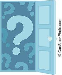 ouvert, marque, porte, illustration, question