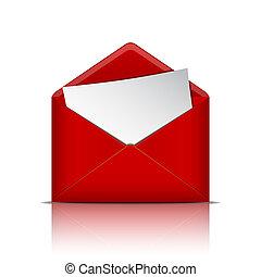 ouvert, papier, enveloppe, rouges