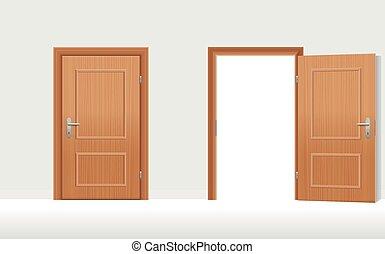 ouvert, portes, fermé