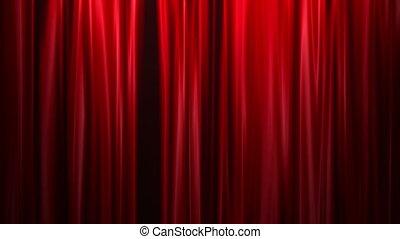 ouvert, rideaux rouges