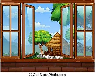ouvert, rural, fenêtre, paysage