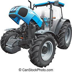 ouvert, tracteur, capuchon
