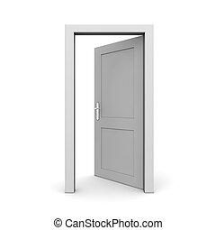 ouvert, unique, porte, gris