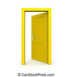 ouvert, unique, porte, jaune