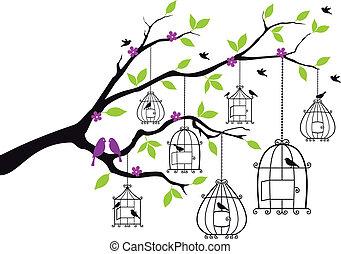 ouvert, vecteur, arbre, cages oiseaux