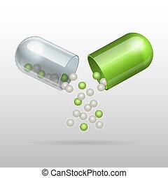 ouverture, capsule, monde médical, vert