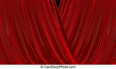 ouverture, curtain., fermer, rouges