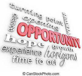 ouverture, expérience, chance, mots, nouveau, occasion