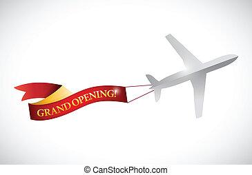 ouverture, illustration, avion, grandiose, bannière, ruban
