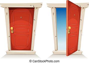 ouverture porte, rouges, fermé