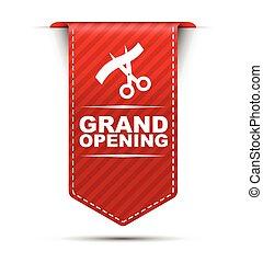 ouverture, vecteur, conception, grandiose, bannière, rouges