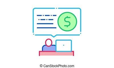 ouvrier, animation, bureau, icône, banque