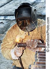 ouvrier, arc, électrode, électrique, soudure