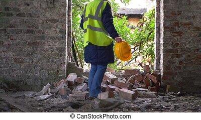 ouvrier, bâtiment, dur, démoli, chapeau