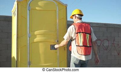 ouvrier, b, construction, mâle, portable