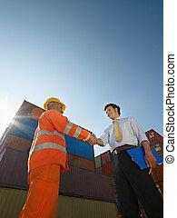 ouvrier, cargaison, manuel, récipients, homme affaires