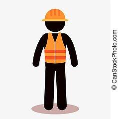 ouvrier construction, avatar, icône