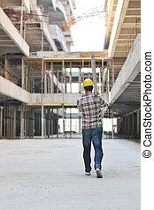ouvrier, construction, dur, site