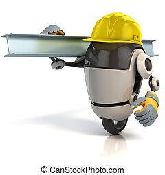 ouvrier construction, robot, 3d